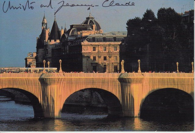 Preview of the first image of CS01. Christo Paris The Pont Neuf Wrapped Postcard Signed.