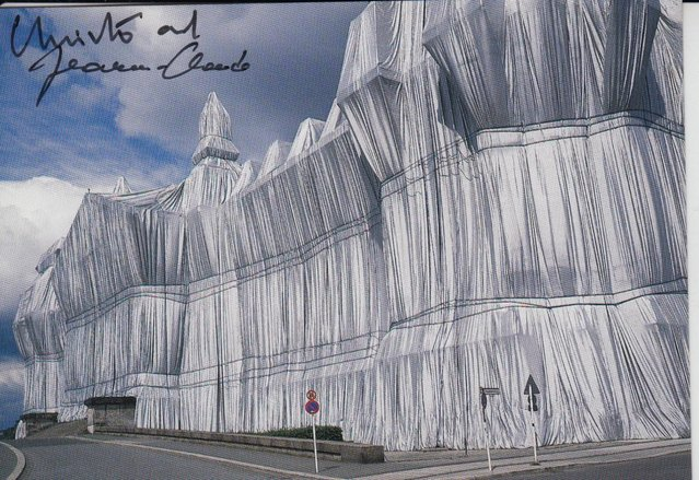 Preview of the first image of CS03. Christo Berlin The Reichstag Wrapped Postcard Signed.
