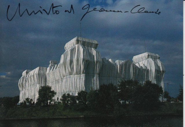 Preview of the first image of CS04. Christo Berlin The Reichstag Wrapped Postcard Signed.