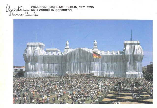 Preview of the first image of CS07. Christo Berlin The Reichstag Wrapped Postcard Signed.