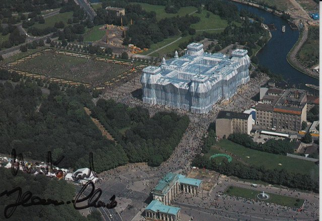 Preview of the first image of CS08. Christo Berlin The Reichstag Wrapped Postcard Signed.