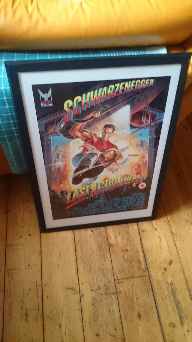 Preview of the first image of Original framed Arnold Schwarzenegger film poster.