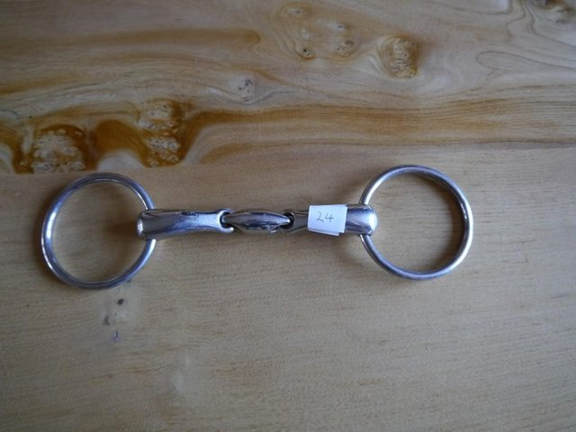 Preview of the first image of Korsteel stainless steel snaffle with lozenge.