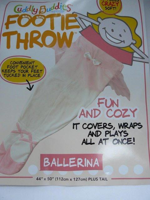 Image 6 of Cuddly Buddies pink & cream Soft Cosy Ballerina Footie Throw