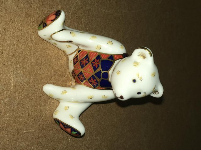 Preview of the first image of Extremely Rare Royal Crown Derby Steiff Miniature Bear P/W.