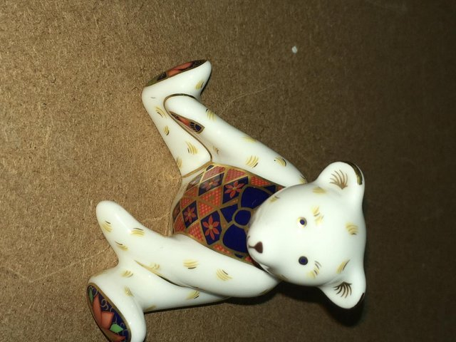 Image 2 of Extremely Rare Royal Crown Derby Steiff Miniature Bear P/W