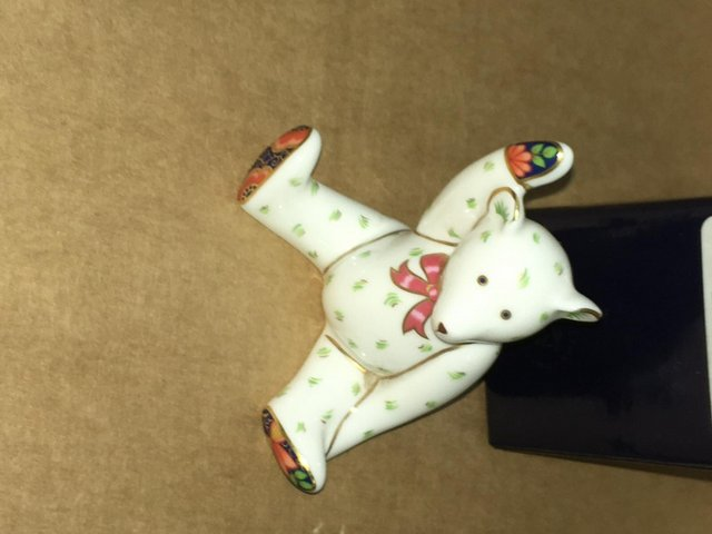 Preview of the first image of Boxed Royal Crown Derby Victoria Waving Bear Paperweight.