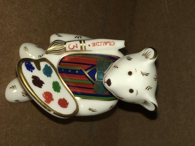 Image 2 of Royal Crown Derby Claude Artist Bear Paperweight