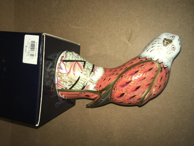 Preview of the first image of Boxed New Royal Crown Derby Red Kite Bird Paperweight.