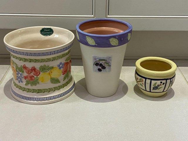 Image 2 of HOUSE PLANT PLANTERS POTSx3.MARKS&SPENCER HANDPAINTED RRP£38