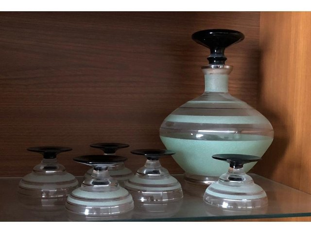 Preview of the first image of Vintage Glass Decanter and 5 Glasses.