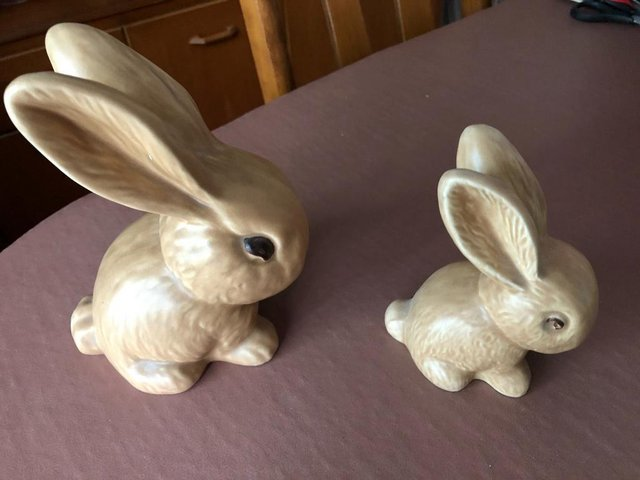 Preview of the first image of 2 x Sylvac Pottery Beige Rabbits.