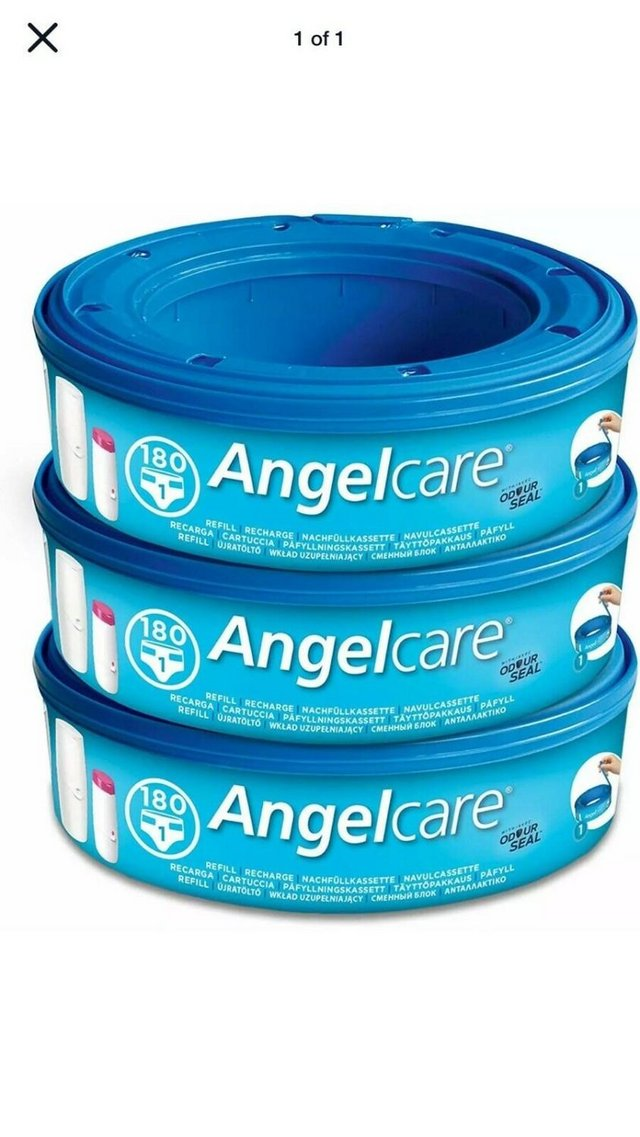 Preview of the first image of 3 x Angelcare Nappy Disposal System Refill Cassettes Wrapper.