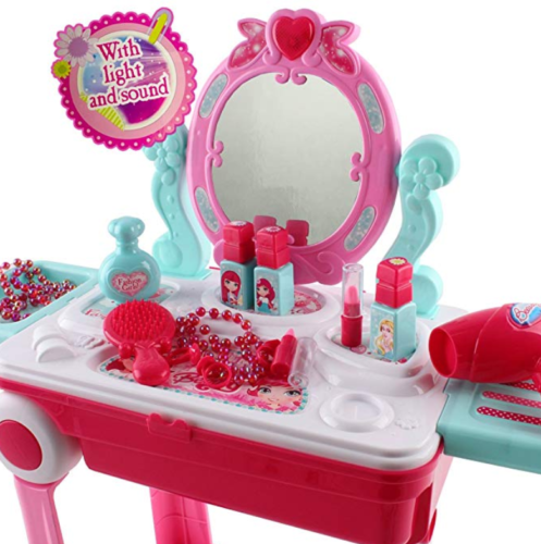 Image 2 of deAO Toys Vanity Dressing Table Portable Suitcase Play Set &