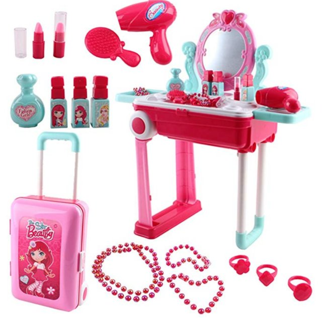 Image 3 of deAO Toys Vanity Dressing Table Portable Suitcase Play Set &