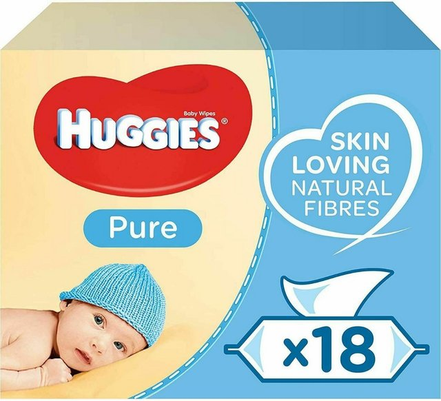 Preview of the first image of Huggies Baby Wipes, Pure, No. Packs (18 Packs, x56 total1008.