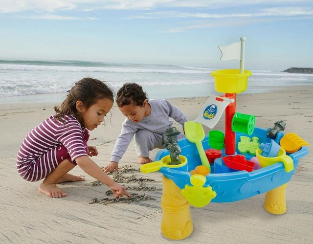 Image 2 of Top Race 24 Piece Outdoor Pirate Sand and Water Table – Ship