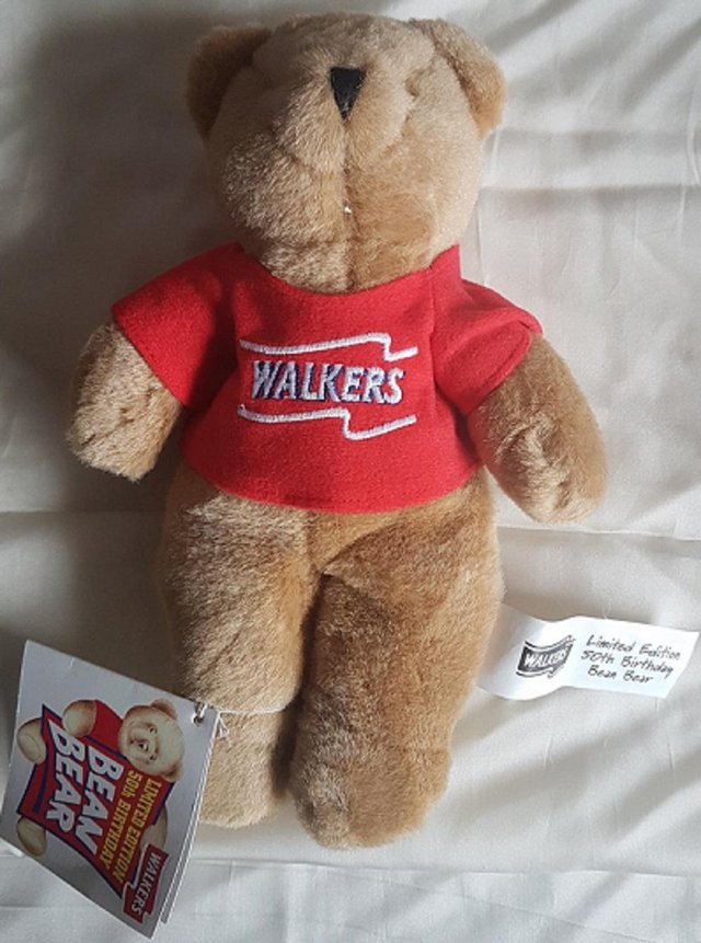 Preview of the first image of Walkers limited edition 50th birthday bean bear, 1998.