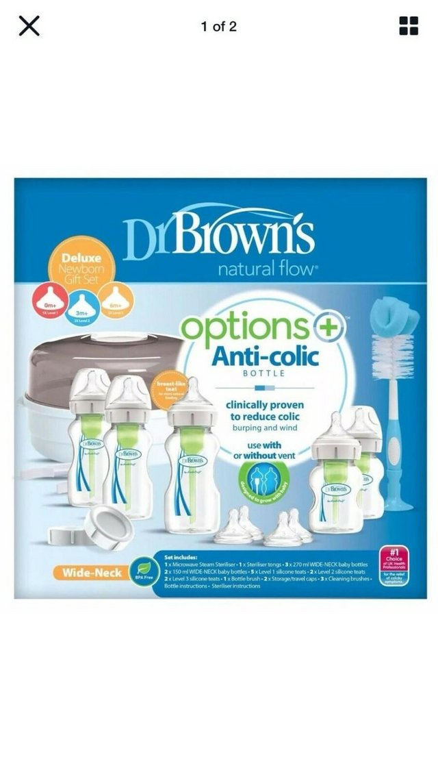Image 2 of Dr Browns Options+ Anti-Colic Baby Bottles Newborn Including