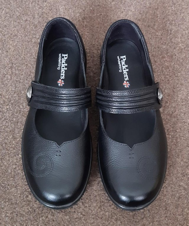 Image 2 of New Padders Black Leather Wide Fit Mary Jane Shoes - Size 6E