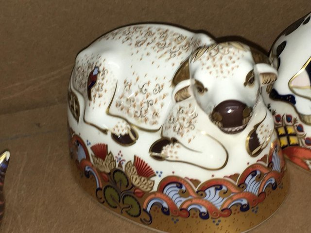 Preview of the first image of Royal Crown Derby Water Buffallo Paperweight.