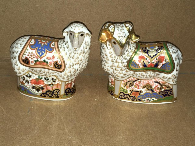 Preview of the first image of 2 x Royal Crown Derby Imari Ewe and Imari Eve Paperweights.
