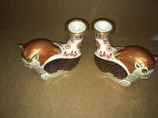Preview of the first image of 2 x Royal Crown Derby Mthical Creatures Paperweights Pair.