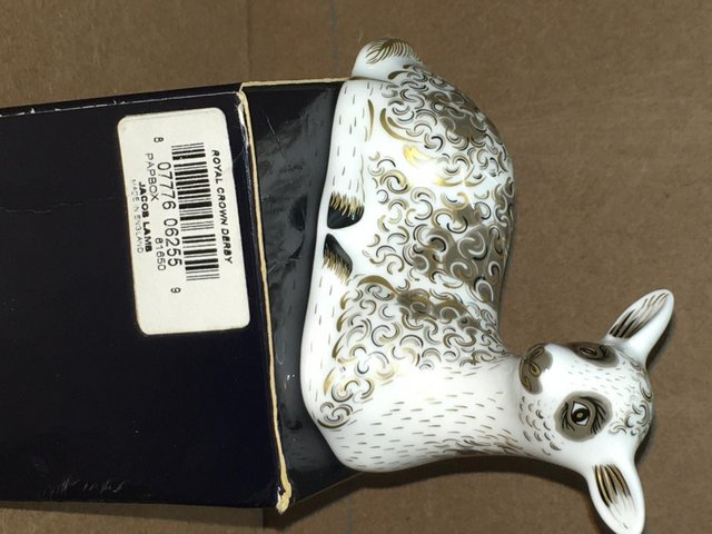 Image 2 of Boxed New Royal Crown Derby Jacob Lamb Paperweight