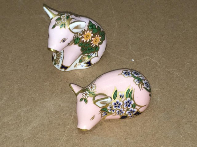 Preview of the first image of 2 x Royal Crown Derby Sinclairs Piglets.