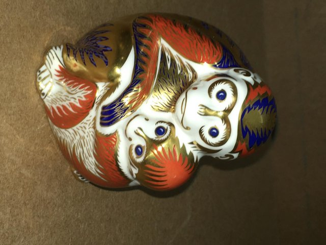 Preview of the first image of Royal Crown Derby Monkey & Baby Paperweight.