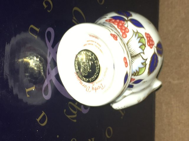 Image 3 of Boxed Royal Crown Derby Derby Dormouse Paperweight