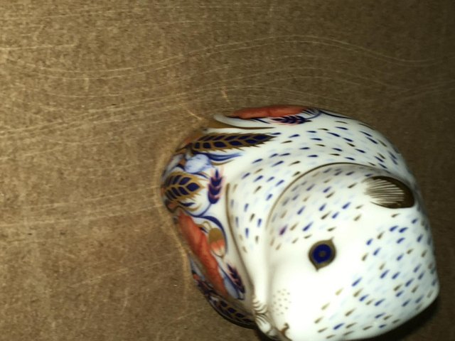 Preview of the first image of Royal Crown Derby Poppy Mouse Paperweight.