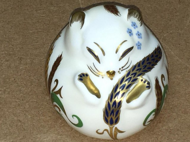 Preview of the first image of Royal Crown Derby White Dormouse Paperweight.