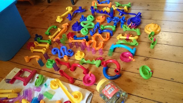 Preview of the first image of 180 piece set of original marble run with tub of marbles.