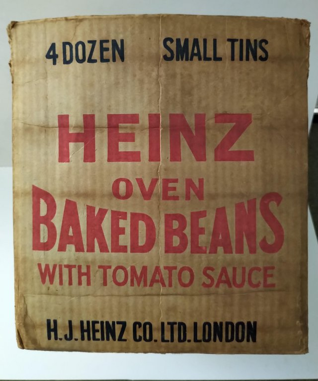 Preview of the first image of Heinz Oven Baked Beans Vintage Cardboard Box Packaging.