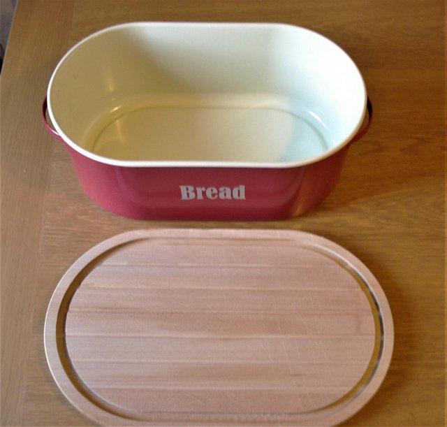 Image 2 of Bread Bin with Bread Board, & Brand New Ceramic Toast Rack