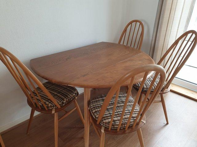Image 2 of Ercol dining table and 4 chairs