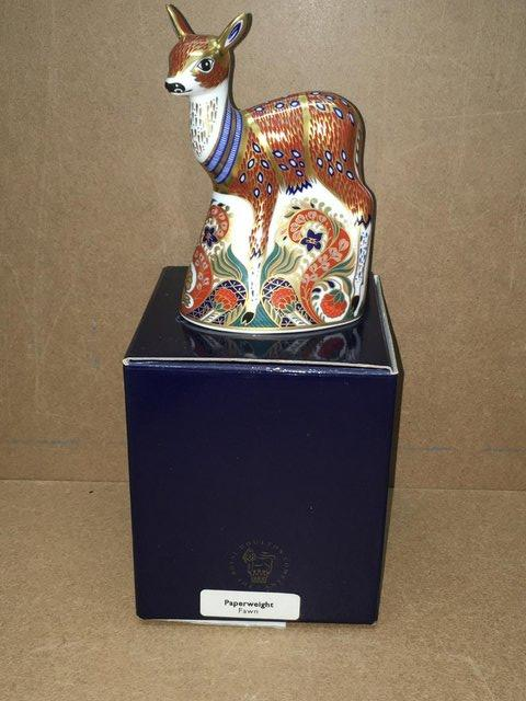 Preview of the first image of Boxed ROyal Crown Derby Fawn Paperweight.