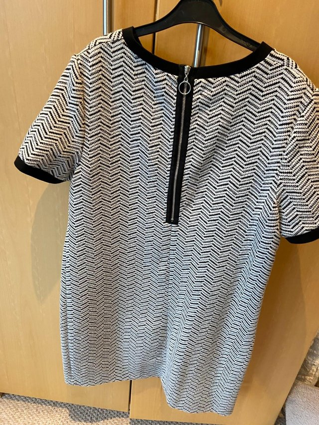 Image 2 of Ladies Tunic Dress (size 12), black & white, great condition