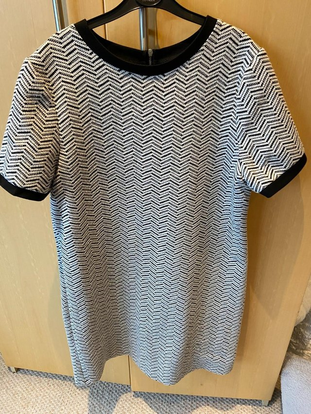 Image 3 of Ladies Tunic Dress (size 12), black & white, great condition