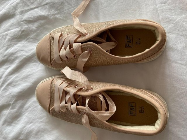 Preview of the first image of Ladies size 7 Dusky Pink Lace up trainer pumps, worn twice,.