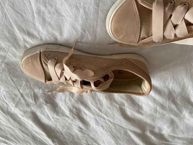 Image 2 of Ladies size 7 Dusky Pink Lace up trainer pumps, worn twice,