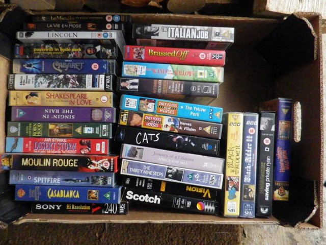 Preview of the first image of LARGE BOX VHS VIDEOS.