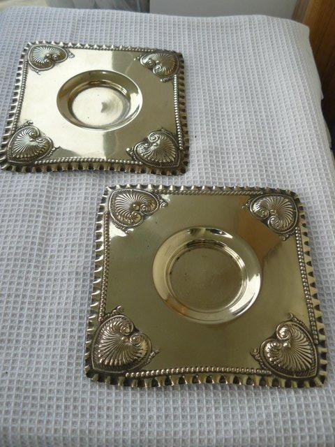 Preview of the first image of 2 Art Nouveau EPNS repousse square candle plates c1890-1910.