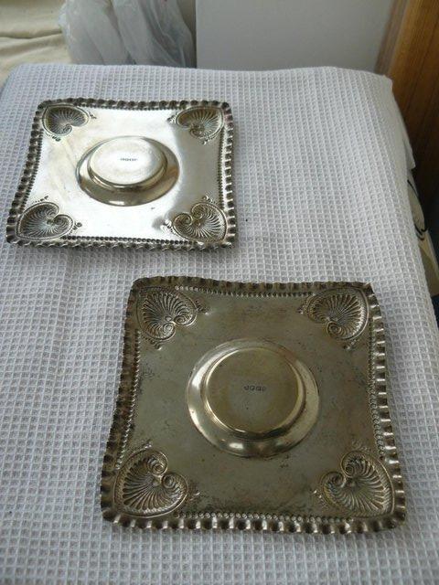 Image 4 of 2 Art Nouveau EPNS repousse square candle plates c1890-1910
