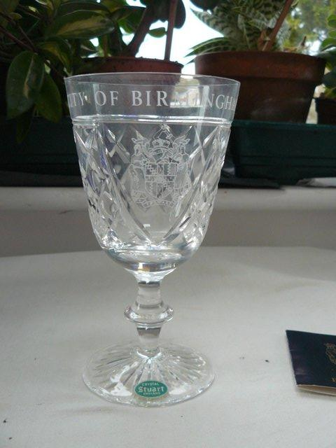 Image 4 of Stuart Crystal cut glass goblet Birmingham coat of arms
