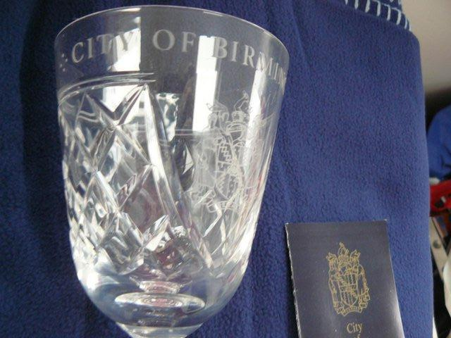 Image 6 of Stuart Crystal cut glass goblet Birmingham coat of arms