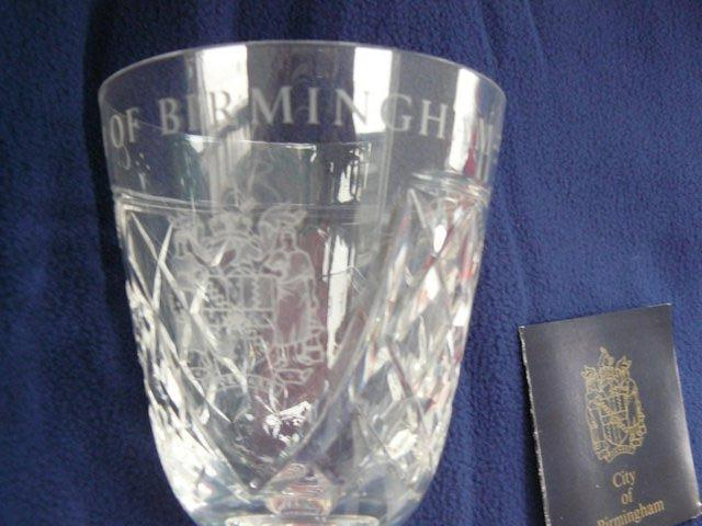 Image 8 of Stuart Crystal cut glass goblet Birmingham coat of arms