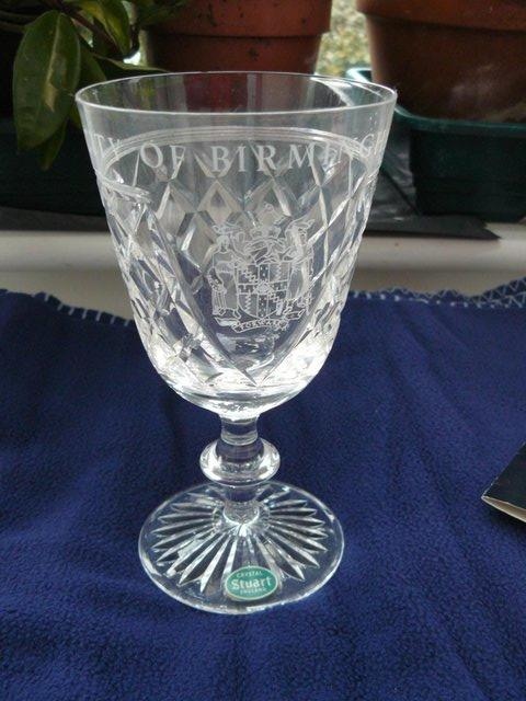 Image 13 of Stuart Crystal cut glass goblet Birmingham coat of arms