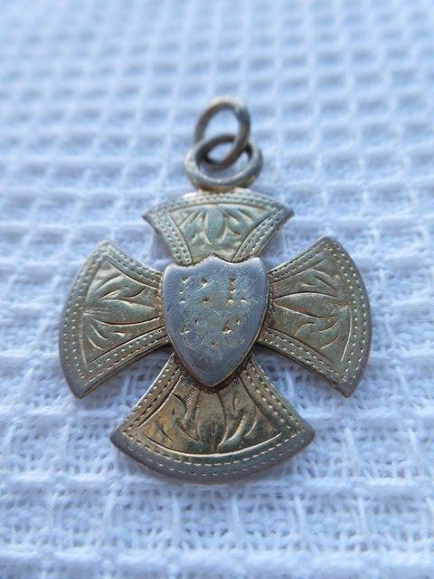 Image 2 of 1887 antique fine silver & gold pocket watch fob medal.